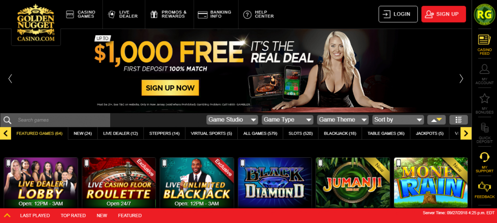 golden nugget online casino review - game variety
