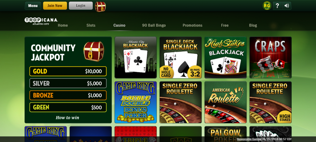 tropicana online casino review - ease of use