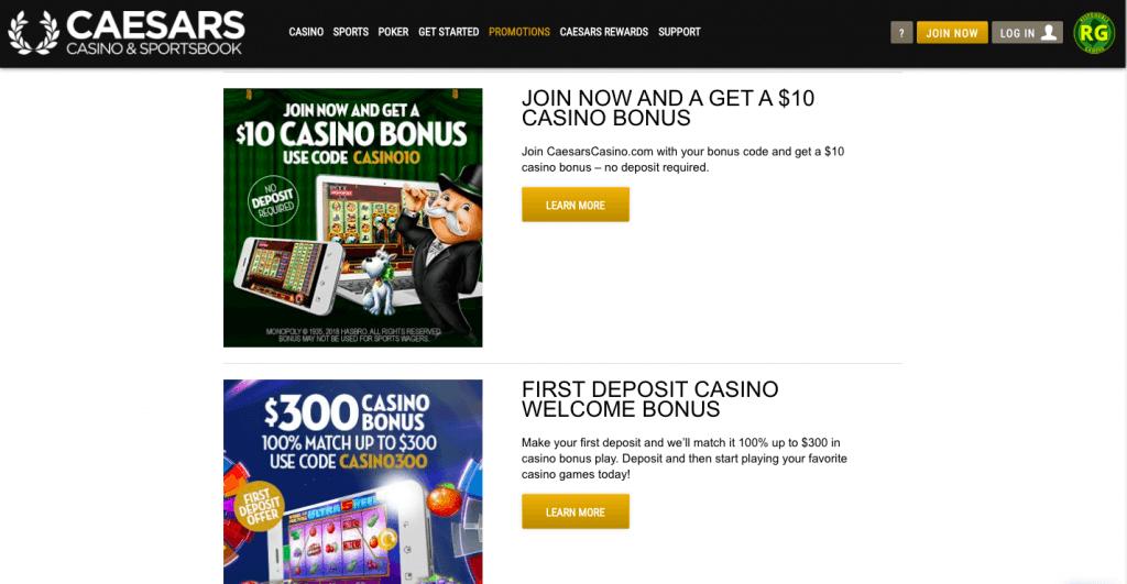 caesars online casino bonuses