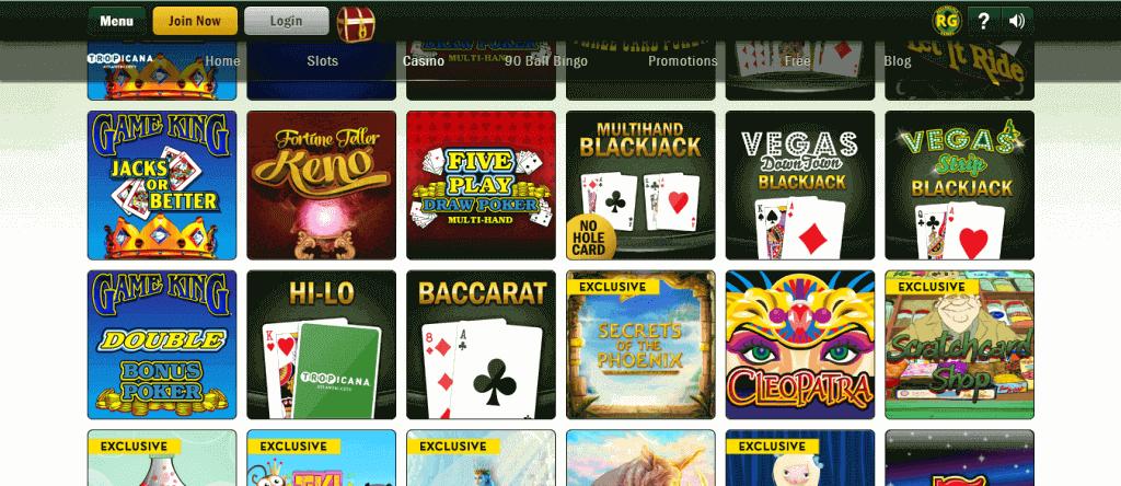tropicana online casino games