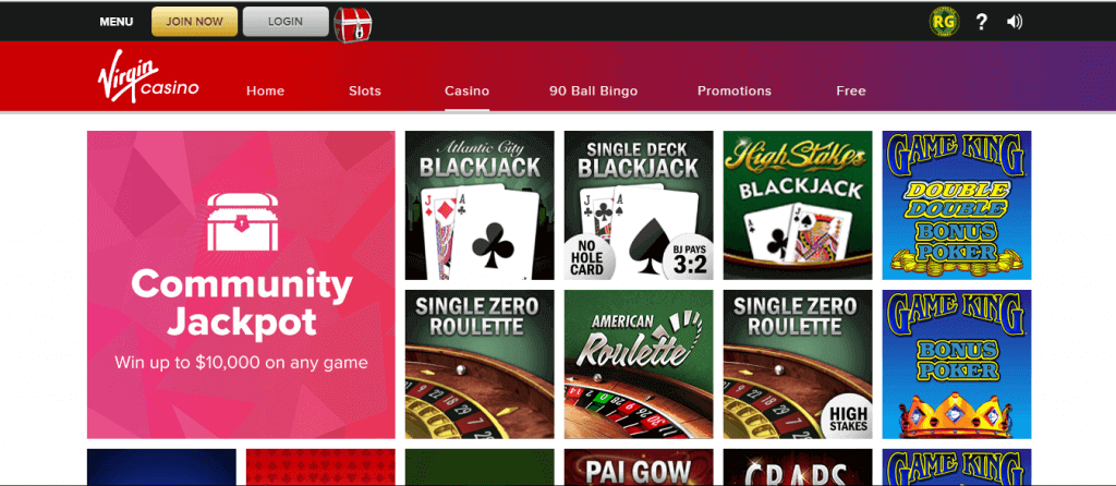 virgin casino online table games